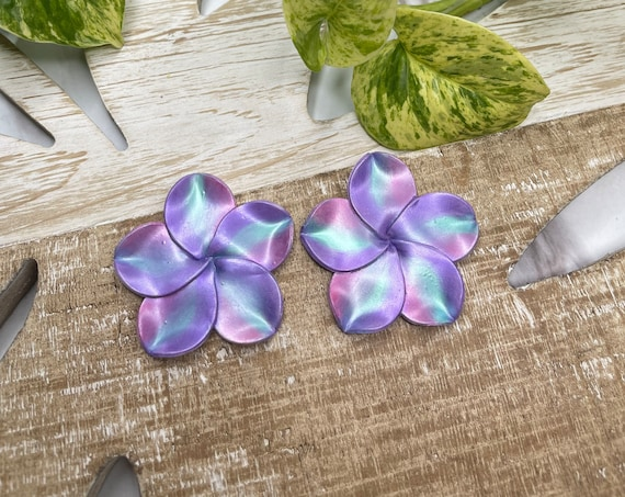 Palm Beach Tropical Plumeria Flower hoop Floral Statement Earrings Clay Original unique spring Dangles