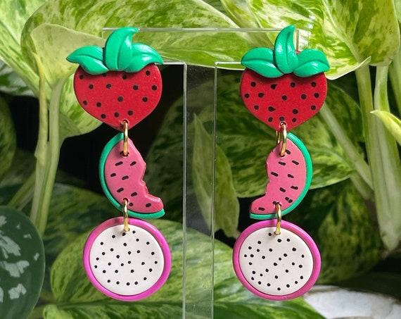 Fruit Salad Strawberry Watermelon Dragon Fruit Pitaya Slice statement Earrings gold hoops silver pink green red black