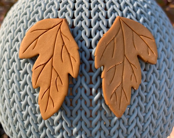 Autumn in Gold Statement Earrings Leaf Clay