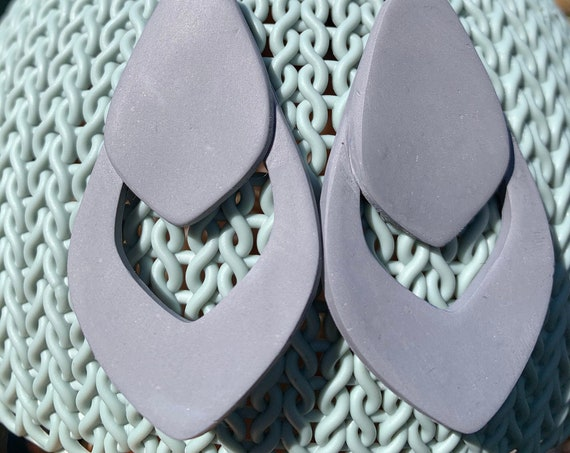 Young in Slate Gray Statement Earrings Clay
