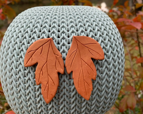 Autumn in Copper Statement Earrings Leaf Clay