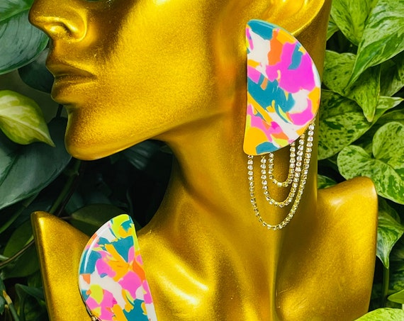 Mod Glam Rhinestone link Semicircle  Large multicolor resin studs Collection Statement Earrings Clay Jewelry