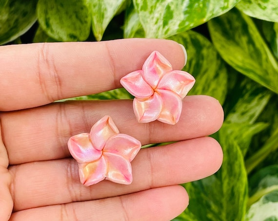 Palm Beach Tropical Plumeria Flower Small Stud Floral Statement Earrings Clay Original unique spring Dangles