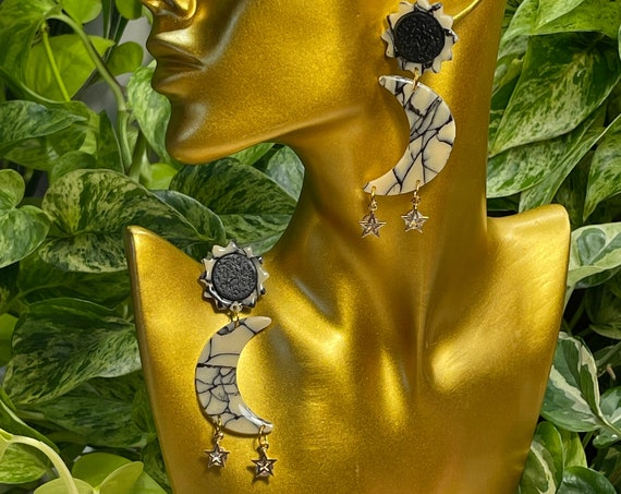 Luna Moon Beam Glow Large Hoops Collection Statement Black Glow in the dark  Earrings Clay Jewelry