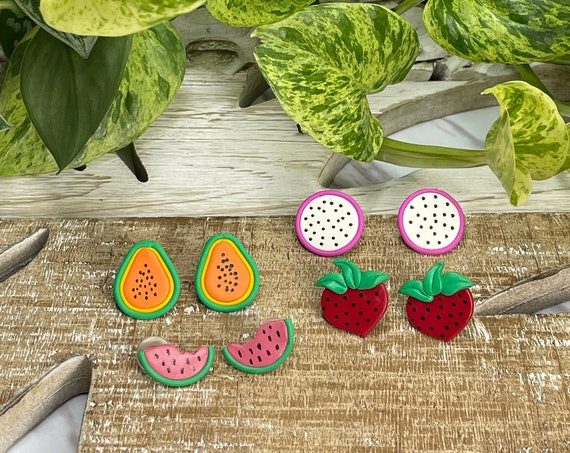 Fruit Salad Strawberry Watermelon Dragon Fruit Papaya Slice statement Earrings gold hoops silver pink yellow orange green red black