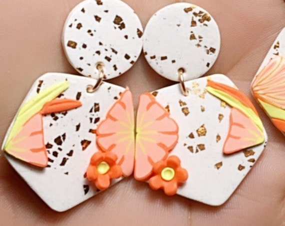 Spring Fling Sofie Coral Yellow  and gold Statement Earrings Large Dangles floral petal