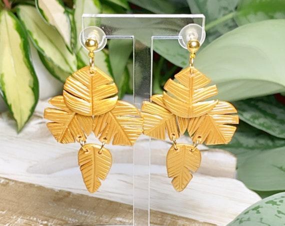 Paradise  Palm Statement Earrings Metallic Gold  leaf statement