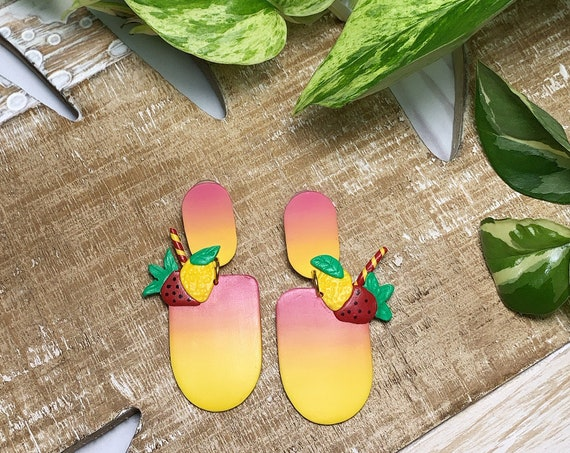 Strawberry Lemonade ombré Drink  Statement Earrings gold  silver Red Yellow ombré  Green
