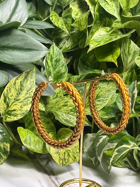 Rope Braid hoops Mega Large Statement Gold Cognac rust  terra cotta Earrings Fall  Clay hoops olive green Knit crochet