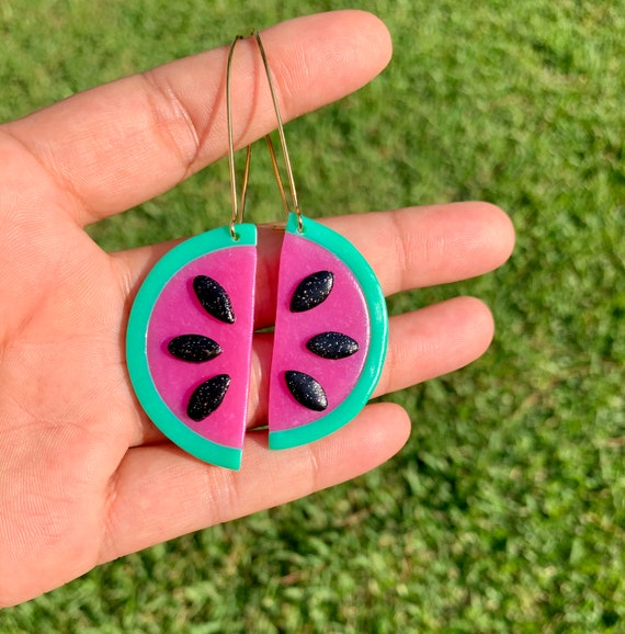 Made to order Small Fruity Watermelon slice statement Earrings gold hoops silver Translucent pink green black glitter