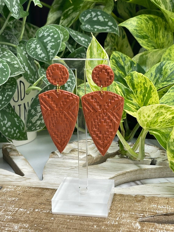Indian Summer Collection Faux Stone BoHo Statement Earrings Clay Original  Dangles Arrowhead Leaf Orange Rust Teal Yellow