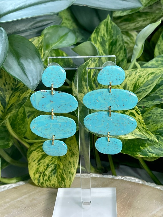 Turquoise  Dream Collection Oversized Mega Statement Earrings Clay Jewelry Lightweight Unique Vintage Look