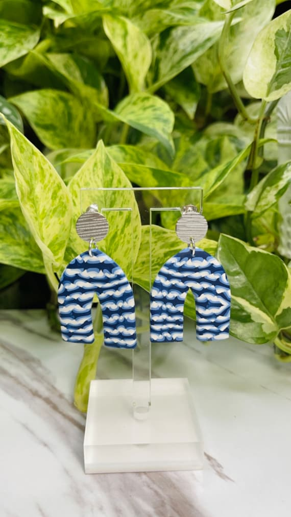 Classic Blue Summer Collection Limited Edition Shibori Statement Earrings Clay Jewelry Lightweight Unique Tie Dye BLUE and White