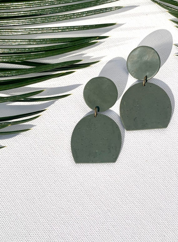 Granite olive Statement Earrings Clay Jewelry Green