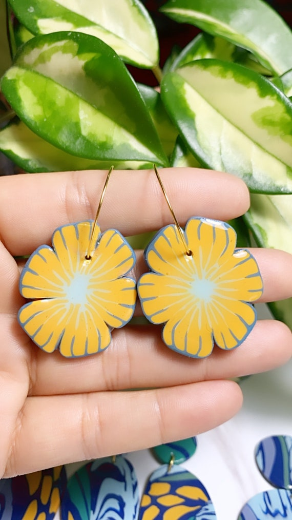 Flower Hoops Jungle Boggie Rainforests Statement Earrings Gold Yellow blue  floral