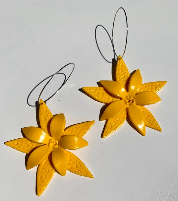 Palm Beach tropical flower hoop Floral Statement Earrings Clay Original unique spring Dangles
