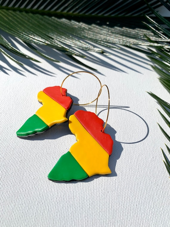 Africa Bold Statement Earrings Clay Jewelry Lightweight  Red Gold Black Green Yellow