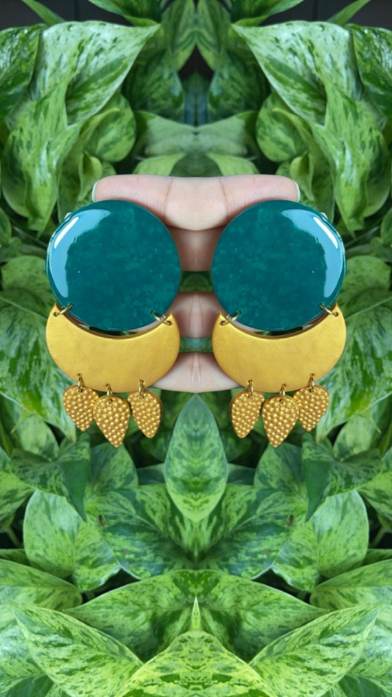 Queen Luna Emerald Moon Beam Large  Silver translucent resin studs Collection Statement Earrings Clay Jewelry