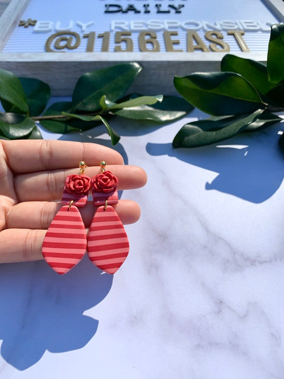 Red and Pink Stripes Statement Earrings  Clay Jewelry Flowers