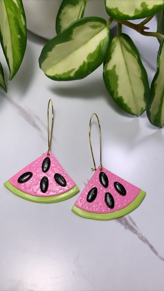 Made to order Small  Fruity Watermelon slice statement Earrings gold hoops silver  pink green black glitter