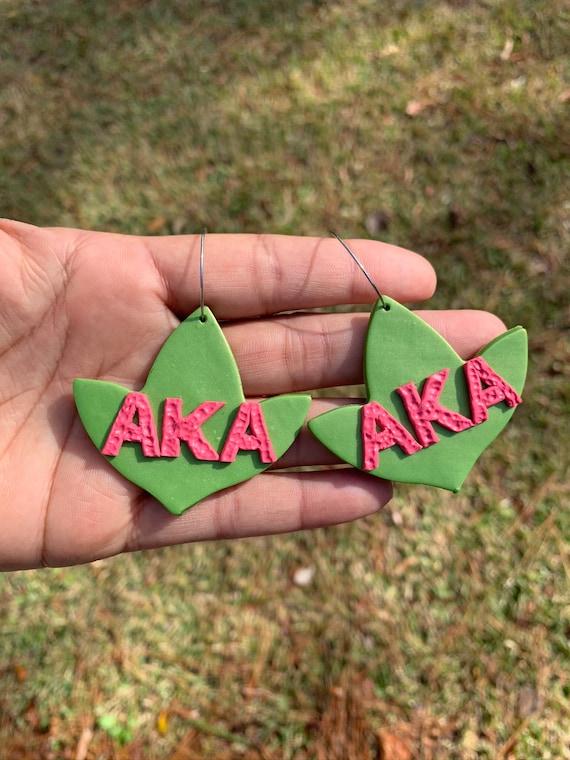 AKA 1908 Custom Alpha Kappa Alpha Statement Earring Ivy Leaf Clay gift