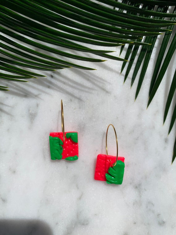 Tropical Summer Neon Pink Green Monstera statement Earrings gold hooks hoops silver