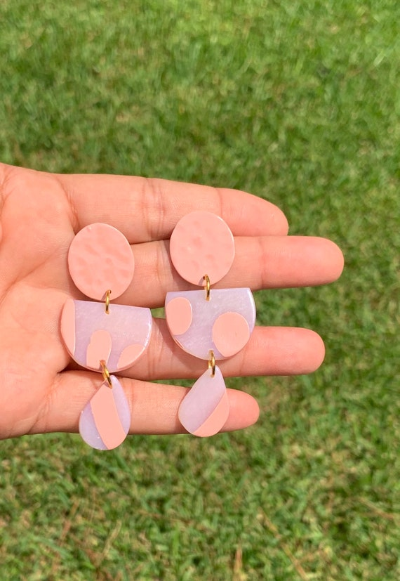 Painted Glass Collection Statement Earrings Clay Jewelry Lightweight   Coral peach blush Translucent