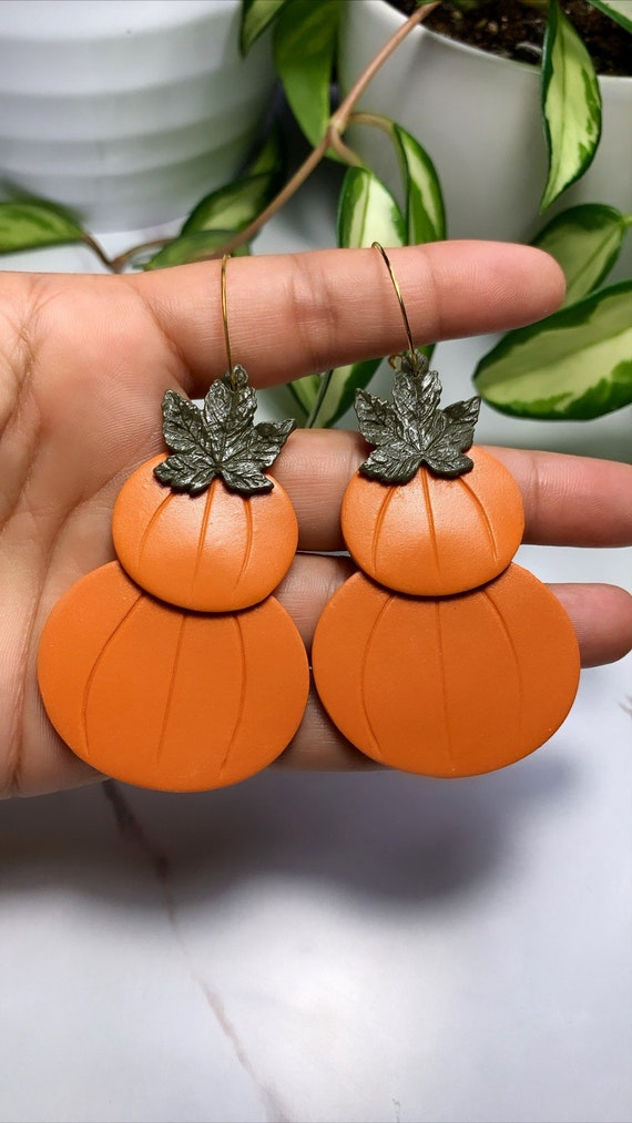 Made to order Large Double Pumpkin statement Earrings gold hoops silver Burnt orange Olive green autumn fall