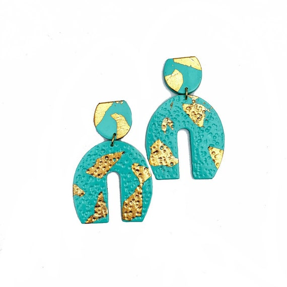 Spring Fling Contemporary Mint and gold Statement Earrings Large Dangles Polymer clay and Arch Teal
