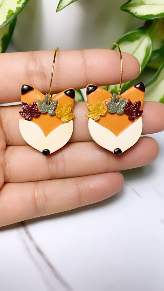 Maple Crown Fox Hoops Wild Fall Collection statement Earrings animal Burnt orange Olive green gold autumn