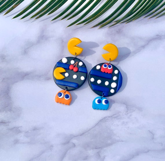 PacMan Statement Earrings Gamer Pac Man   polymer Clay