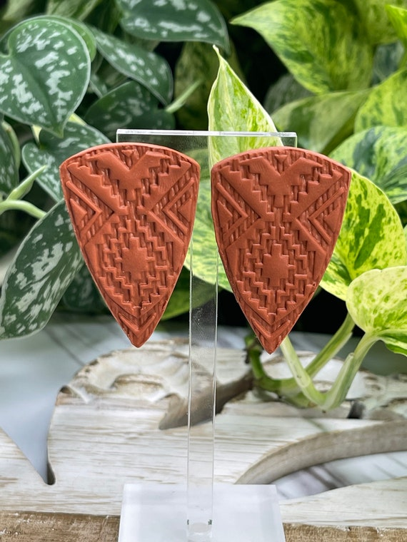 Indian Summer Collection Large Studs BoHo Statement Earrings Clay Original  Dangles Arrowhead Leaf Orange Rust Teal Yellow