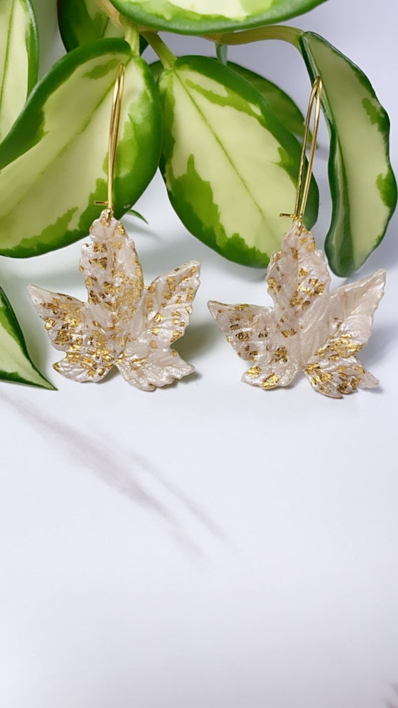 Autumn Maple Leaf in Pearl Gold Foil Statement Earrings Fall Leaves Clay hoops hooks clip ons