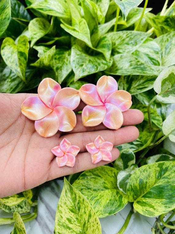 Mommy and Me Sets Tropical Plumeria Flower Small Stud Floral Statement Earrings Clay spring  mother daughter