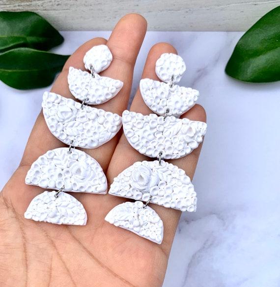 Marilyn White Statement Bridal Nude Earrings Clay Wearable Art
