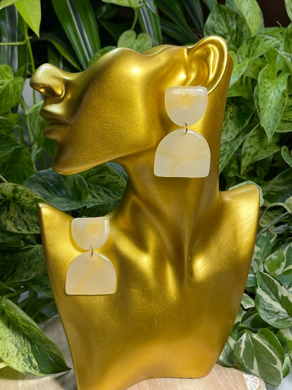 Glow Up  Collection Statement Translucent  Glow in the dark  Earrings Clay Jewelry