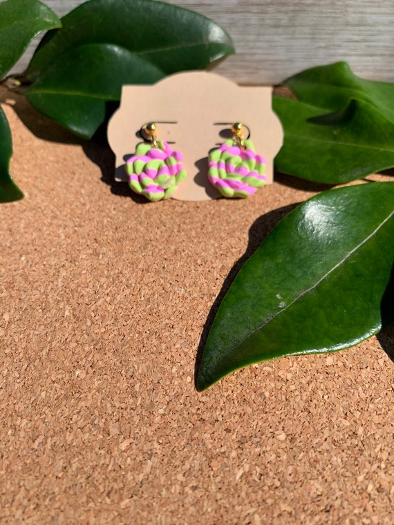 Pink and Green Stripe Succulent Statement Earrings  Clay Jewelry Flowers Stud Dangle Rose