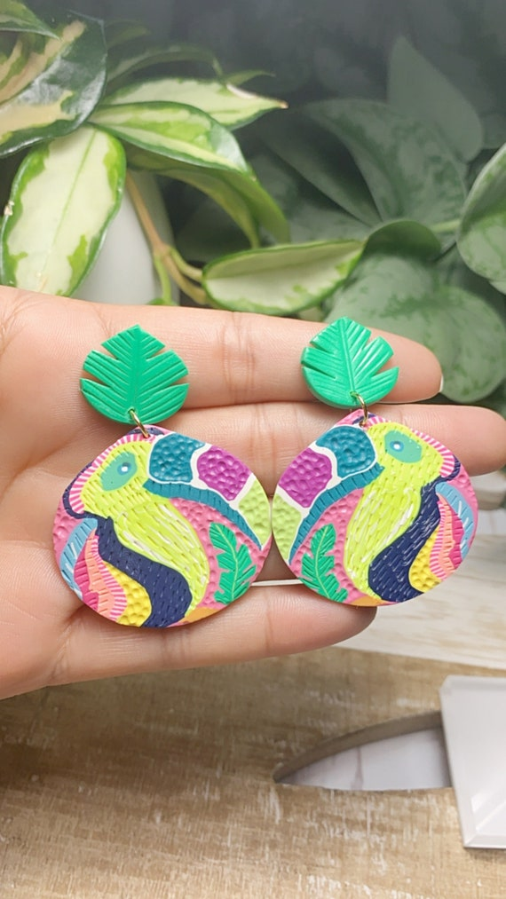 Toucan Dreams Limited Edition  Textured Statement Earrings Green pink neon Gold Yellow blue  floral flower leaf multicolored