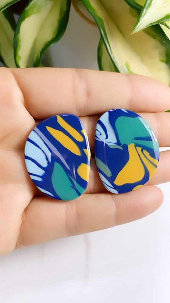 Limited Edition Jungle Boggie Rainforests Statement Earrings Green Gold Yellow blue  floral