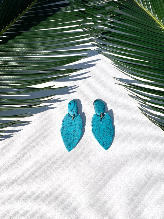 Tribal Faux Turquoise Collection Limited Edition Statement Earrings Clay Jewelry Lightweight Big Bold Unique Collective Arrowhead Studs
