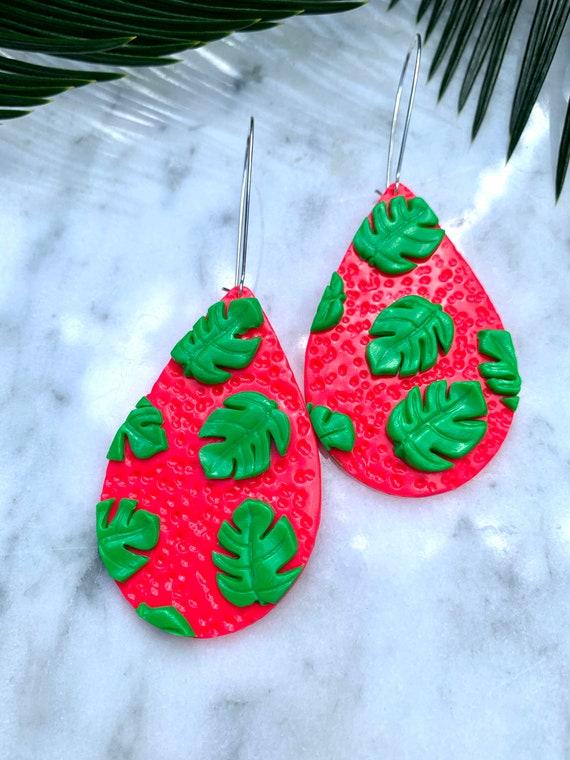 Neon Pink Green Monstera statement Earrings gold hooks hoops silver