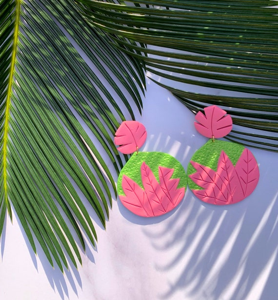Palm Beach Olivia Statement Earrings Hand cut Leaf Dangles