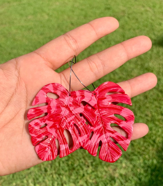 Palm Beach Monstera Big Statement Earrings Pink  red marbled Gold or silver Hoops Leaf Dangles