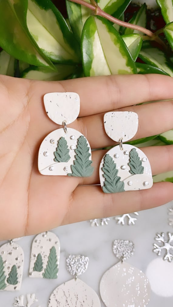 Winter Wonderland Let It Snow Collection stud dangle Statement Earrings Clay Jewelry Green tree sage silver foil
