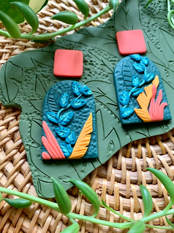 Custom Made to Order Limited edition Jungle Boggie Rainforests Statement Earrings Gold Teal coral variegated leaf