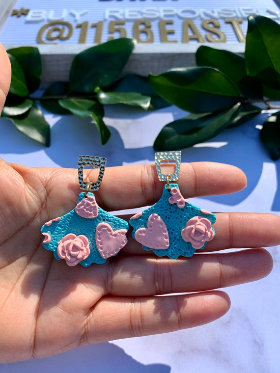 Vintage Chic Pink Coral Aqua Statement Earrings  Clay Jewelry Flowers Hearts Fan