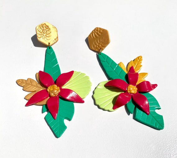 Bahama mama Kehlani tropical island collection Statement Earrings Hand cut Leaf Dangles flowers