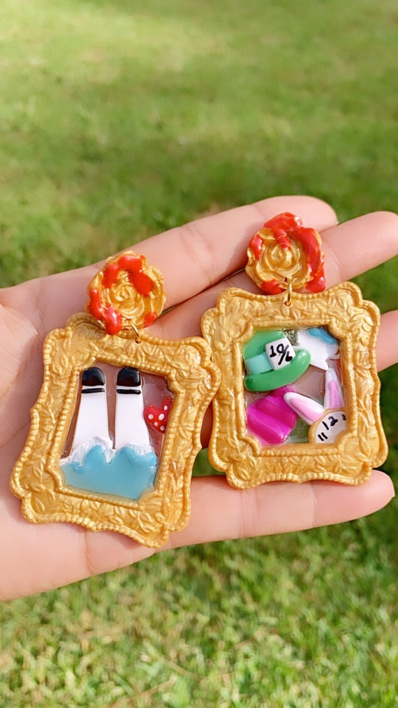 Wonderland Frame Inspired Statement Earrings Polymer Clay Resin dangle paint rose Hoops Alice whimsical clip ons