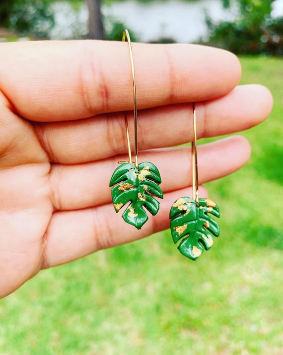Mini Monstera Earrings  hooks gold silver gold foil