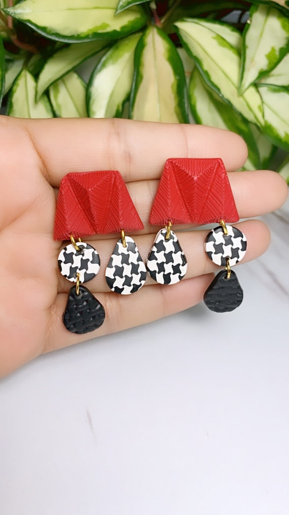 Not So Plain Jane Collection Gold Houndstooth red studded black white minimalist  stud arch Statement Earrings Clay Jewelry